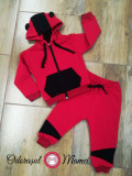 Trening bumbac bebelusi rosu-negru