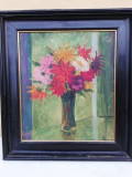 Vas cu flori, pictură în ulei pe pânza, semnată și inramata. Dimensiuni 40x34 cm