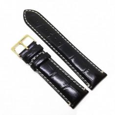 Curea ceas Neagra din piele naturala, imprimeu crocodil - 18mm, 20mm, 22mm - WZ3593