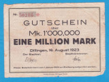 (1) BANCNOTA (NOTGELD) GERMANIA - 1 MILLION MARK 1923 (16 AUGUST), DILLINGEN