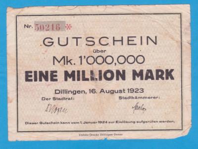 (1) BANCNOTA (NOTGELD) GERMANIA - 1 MILLION MARK 1923 (16 AUGUST), DILLINGEN foto