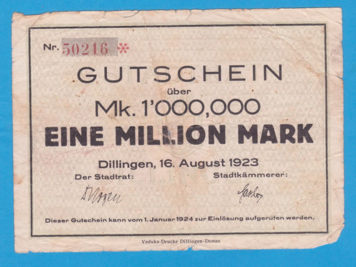 (1) BANCNOTA (NOTGELD) GERMANIA - 1 MILLION MARK 1923 (16 AUGUST), DILLINGEN