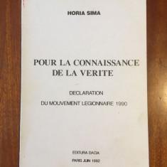 Horia SIMA - Declaration de Mouvement Legionnaire 1990 (Paris) - Foarte rara!