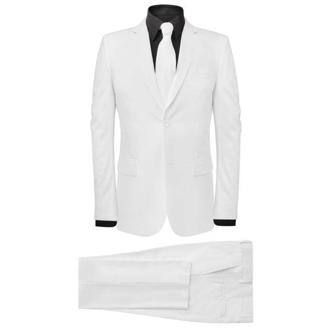 Costum bărbătesc 2 piese cu cravată mărimea 54, Alb