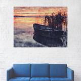 Tablou Canvas, Barca la Malul Lacului, Apus - 80 x 100 cm