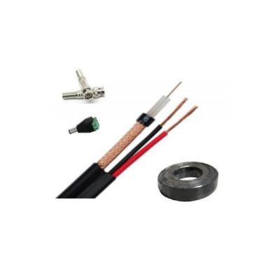 Cablu coaxial pentru camere supraveghere RG59 rola 100m cu dubla alimentare 0.5mm+2 mufe bnc si 1 mufa alimentare tata foto
