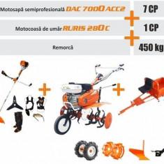 Pachet Gospodar (Motosapa DAC 7000ACC2 + roti cauciuc 4.00-8 + plug + adaptor + roti metalice 350 fara manicot + motocoasa RURIS 280c + remorca 450 kg