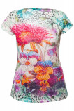 Tricou dama By Swan, imprimat floral, cu strasuri, Verde/Alb