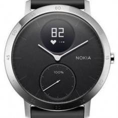 Ceas activity tracker Nokia Steel HR (40mm), Rezistent la apa, Bluetooth (Negru/Argintiu)