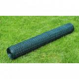 VidaXL Plasă de sârmă găini, verde, 25 x 0,5 m, oțel galvanizat cu PVC
