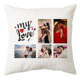 Perna personalizata patrata alba My Love cu 5 poze