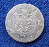 Moneda din argint  1 Leu 1881  Regele Carol Romania