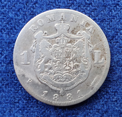 Moneda din argint  1 Leu 1881  Regele Carol Romania foto