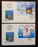 ROMANIA 1992 FDC J.O. DE IARNA ALBERTVILLE  COLITA 2 PLIC PRIMA ZI LP 1275 1276