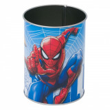 Suport metalic pentru pixuri si creioane, model spiderman, 8×10,5 cm, multicolor