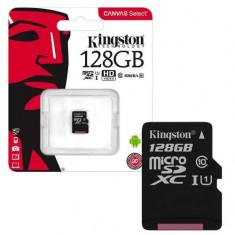 Card de memorie Kingston MicroSDXC, 128GB, Class 10, 80R, Canvas Select