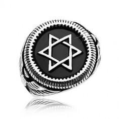 Inel masiv, argintiu, oțel de 316L, Steaua lui David în cerc negru - Marime inel: 60