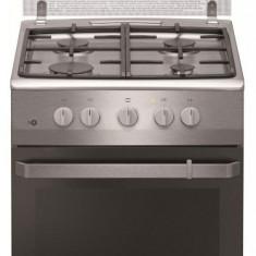 Aragaz cu gaz Hansa FCGX520509, 50 cm, 4 arzatoare, 2 functii, grill, rotisor, aprindere electrica, siguranta, gratare fonta, capac sticla, sertar dep