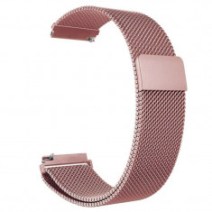 Curea metalica compatibila Smartwatch 22mm, telescoape Quick Release, Milanese Loop, Pink Rose