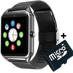 Ceas Smartwatch cu Telefon iUni GT08s Plus, Curea Metalica, Touchscreen, Camera, Notificari, Aluminiu+Card MicroSD 4GB Cadou