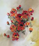 Tablou ulei (30/35)-TRANDAFIRI, Flori, Impresionism