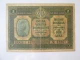 Rară! Italia-Ocupația Austriacă 2 Lire 1918 Cassa Veneta,bancnota din imagini