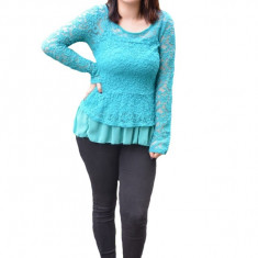 Bluza de ocazie Kali din dantela ,nuanta de turcoaz