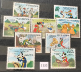 Romania (1986) LP 1153, LP 1154 Desene animate Walt Disney (II), seria + colita, Nestampilat