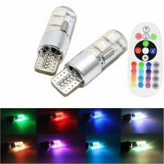 Bec pozitie RGB CU TELECOMANDA SILICON - T10, 6 LED SMD 5050 RGB 12V (pret/set) T10RGBLUX ManiaCars