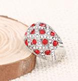 Inel superb elegant masiv cristale rosii zirconia argintiu placat argint -size 7