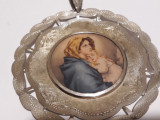MEDALION argint FECIOARA MARIA cu PRUNCUL ISUS vechi OPULENT exceptional SUPERB