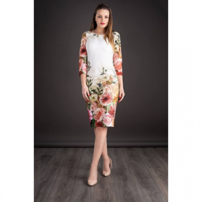 Rochie midi cu imprimeu floral Oana alb floral foto