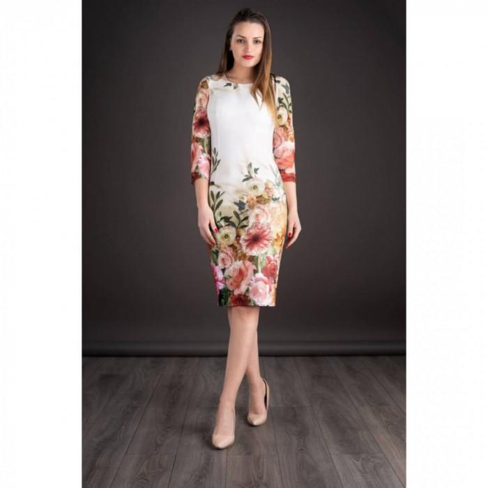 Rochie midi cu imprimeu floral Oana alb floral