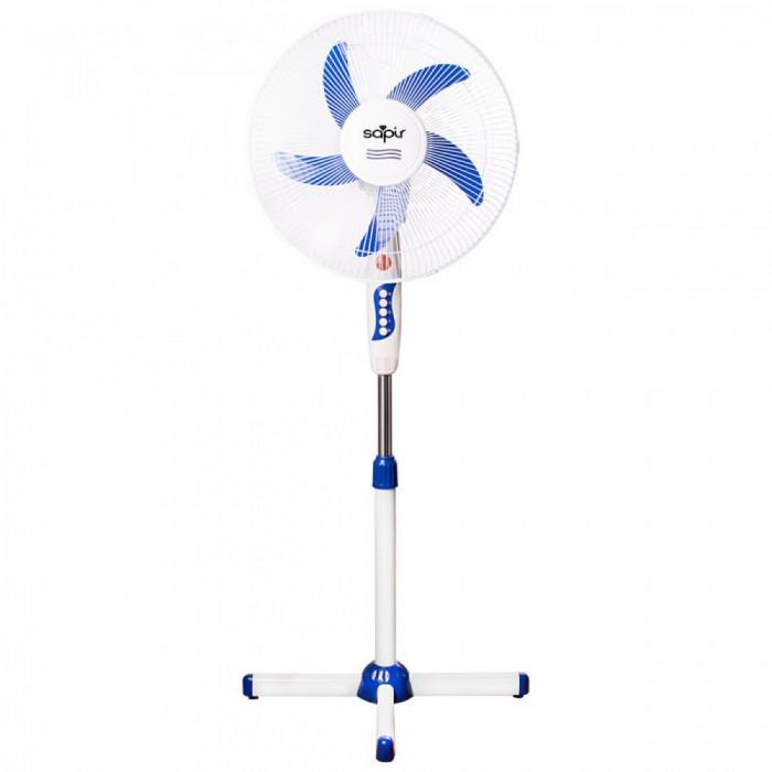 Ventilator cu picior si 5 elice SAPIR SP 1760 B5, 45W, 40 cm, 3 trepte, Inaltime reglabila, Grila protectie, Alb/Albastru