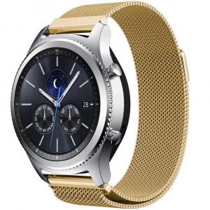 Curea ceas Smartwatch Samsung Gear S3 Gold Milanese Loop, iUni 22 mm Otel Inoxidabil