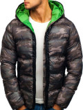 Geacă pentru bărbat de iarnă sportivă camuflaj-verde Bolf ak128