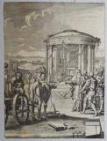 """Vitelul de aur"" gravura veche 1672, Religie, Cerneala, Realism"