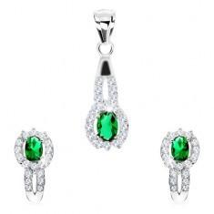 Set pandantiv şi cercei, argint 925, zirconiu verde - oval, zirconii mici transparente