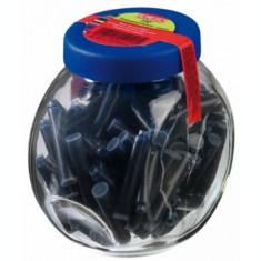 Patroane cerneala mici, albastru, in borcan, 100 buc/set Herlitz