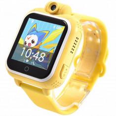 Ceas GPS Copii, iUni Kid730, 3G, DIGI Mobil, Touchscreen, GPS, LBS, Wi-Fi, Camera, buton SOS, Galben