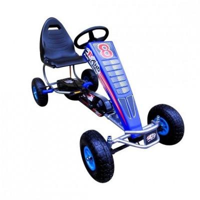 Kart cu pedale Gokart 4-10 ani cu roti gonflabile G5 R-Sport - Albastru foto