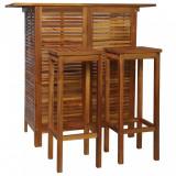 VidaXL Set masă și scaune de bar, 3 buc., lemn masiv de salcâm