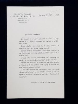 SOCIETATEA HIPICA ROMANA . CLUBUL CALARETILOR BUCURESTI , SCRISOARE CU PROGRAMUL VANATORILOR CALARI DIN TOAMNA ANULUI 1915 foto