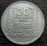 (A13) MONEDA DIN ARGINT FRANTA - 20 FRANCS 1933, 20 GRAME, PURITATE 680/1000