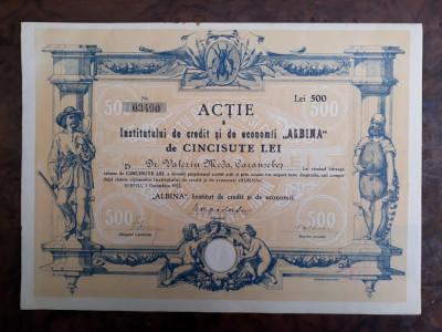 500 Lei 1922 Albina Sibiu / actiuni vechi / actiune veche Romania foto