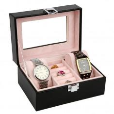 Caseta depozitare ceasuri si inele 3 spatii piele ecologica neagra