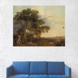 Tablou Canvas, Barbati la Vanatoare - 40 x 50 cm