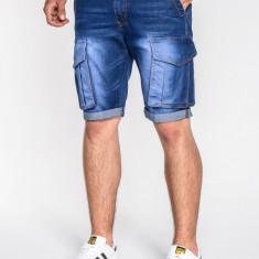 Blugi scurti pentru barbati albastri slim fit casual buzunare laterale P529