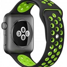 Curea pentru Apple Watch 42 mm Silicon Sport iUni Black-Green