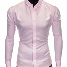 Camasa pentru barbati, roz, simpla, slim fit, casual, cu guler - k404